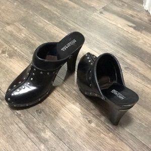 Beautiful leather studded high heeled clogs